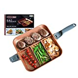 QuadraPan Professional 4-in-1 Non-Stick Multi-Compartment Divided Pan with Glass Lid Copper / Charcoal (As Seen On High Street TV)