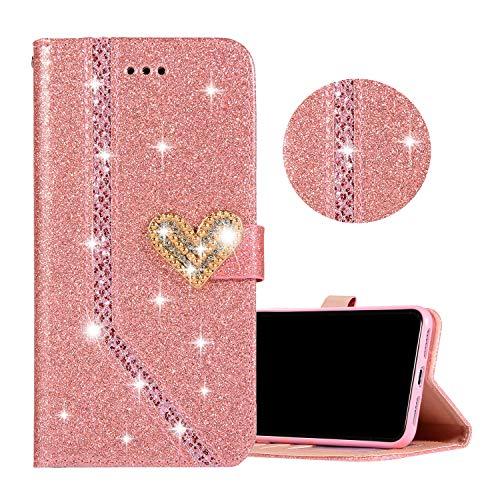 Obesky Hülle für Galaxy J5 2017, Luxus Bling Glitzer PU Leder Flip Wallet Case mit Diamant Liebe Herz Magnetverschluss Standfunktion Kartenfach Schutzhülle für Samsung Galaxy J5 2017 SM-J530F, Rosa -