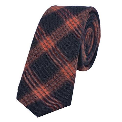 DonDon Herren Krawatte 6 cm Baumwolle dunkelblau-orange kariert Orange Karierte