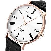 Findtime Uomini neri orologi al quarzo sottili casual in pelle Classic Elegance - Professionale Orologio Al Quarzo