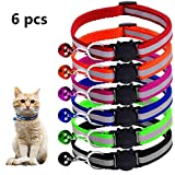 Micropower Reflective Cat Collars Safety Quick Release Break Away Buckle Adjustable Pet Nylon Strap with Bell (Bell Collars-6pcs)