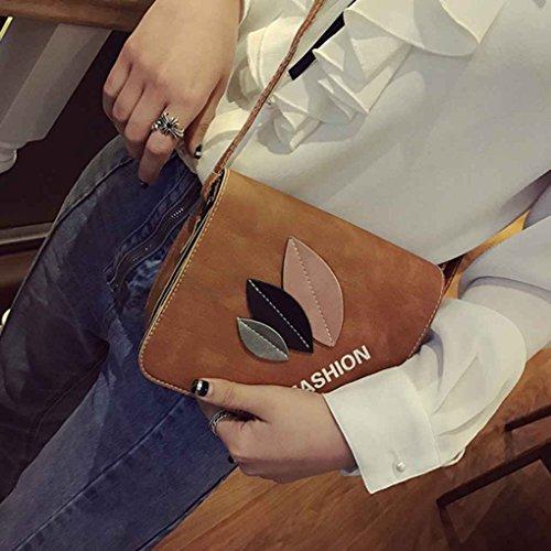 Miaomiaogo Sacchetto di spalla di cuoio di cuoio dell'unità di elaborazione tre lati Bag quadrato casuale del messaggero grigio