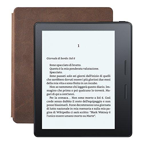 """E-reader Kindle Oasis con custodia-caricatore in pelle noce, schermo da 6"""" ad alta risoluzione (300 ppi) con luce integrata, Wi-Fi"""