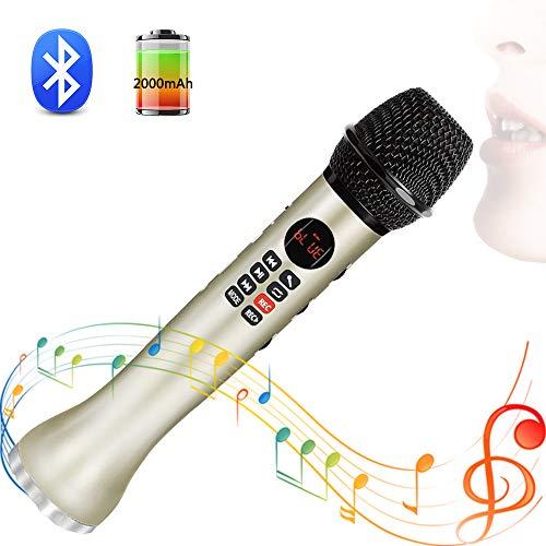 SHENGY Drahtloses Mikrofon, Handheld-Karaoke-Bluetooth-Lautsprecher, LED-Bildschirm, TF-Karten-Gesangsrekorder, für Familienfeiern, Konferenz,Gold (Drahtloses Konferenz-lautsprecher)