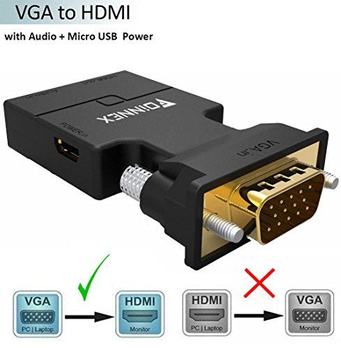 Video-signal-splitter (VGA zu HDMI Adapter mit Audio (Alter PC zu TV/Monitor mit HDMI), FOINNEX VGA zu HDMI TV Konverter für HDTV, Computer, Projektor mit Audio Kabel und Micro USB Kabel, Plug and Play, Portable Größe.)