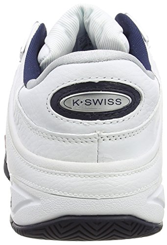 K-Swiss Performance Defier Rs, Men's Tennis Shoes, White (White/Dressblue/Fieryred 164), 8.5 UK (42 1/2 EU)