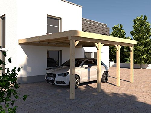 Anlehncarport Carport HARZ IV 400x600cm Leimbinder Fichte + PVC-Dacheindeckung