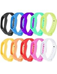 Zacro 10pcs Bracelet de Remplacement, Kit de Remplacement, Bracelet de Rechange pour Smartwatch de Xiaomi Mi Band 2