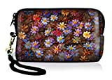 Luxburg Design étui universel housse de protection pour appareil photo Canon Nikon Sony Olympus Kodak Pentax Fujifilm Rollei Sigma Samsung numérique compact, motif: Tapis de fleurs