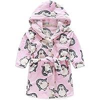 Peignoir enfant à capuche en peluche doux peignoir Peignoir Cartoon chaud Peignoir Pingouin Rose
