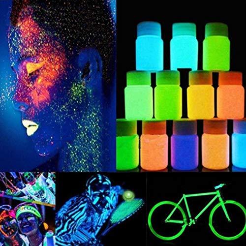 begorey Leuchtfarbe 20g Neon Farben leuchtende Farbe Helle Nachleuchtfarbe Selbstleuchtende Wandfarbe für Glow Effekt im Dunkeln UV Glühfarbe