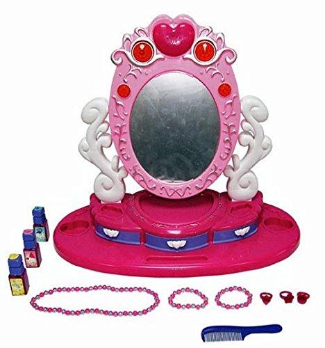 Kinder Schminkspiegel mit Melodie Licht Schminktisch Schminkset Spiegel rosa