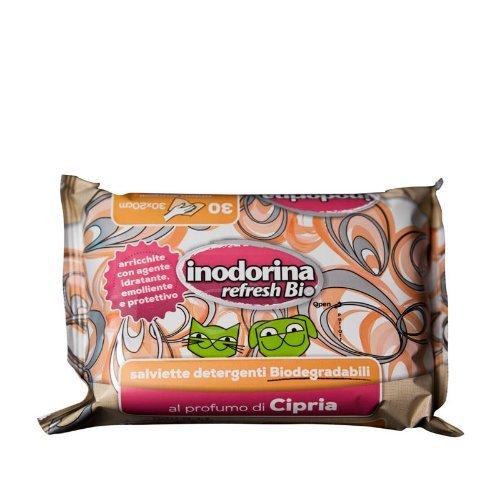 Salviette Inodorina Refresh Bio 30 pz - Salviettine detergenti biodegradabili in varie profumazioni, per cani, gatti e cuccioli (Al profumo di Cipria)