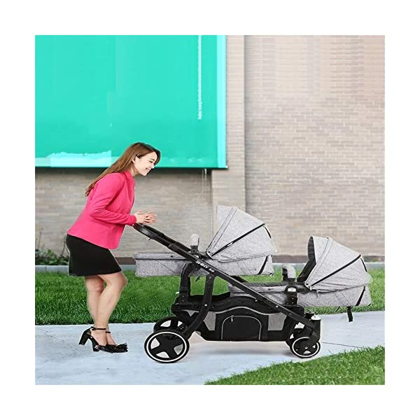 REMTI Pushchairs Twins Baby Stroller Portable Folding Sit Lie Split Two Baby Children Double Cart,Gray  Product Name: baby cart Applicable age: 1 months ~3 years Color classification: light grey, violet. For twin babies, multiple modes of regulation. The double deck is designed by the back board, and the baby is lying flat and sleeping. Cloth can be disassembled and washed, clean and convenient. 4
