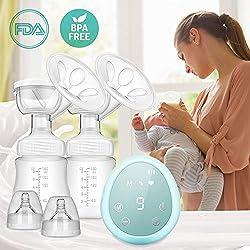 ZEHNHASE Tire-lait électrique, Allaitement portatif à double aspiration avec pompe d'affichage à écran tactile complet sans BPA et silicone 100% de qualité alimentaire (Bleu)