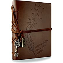 Foonii Vintage Retro Leather Cover Notebook Klassische Travel Journal Tagebuch Leeren Kraft Notebook Feather(Braun)