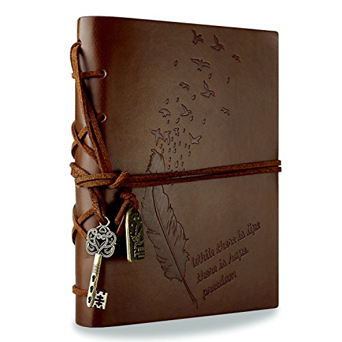 Foonii Vintage Retro Leather Cover Notebook Klassische Travel Journal Tagebuch Leeren Kraft Notebook (Braun) 2