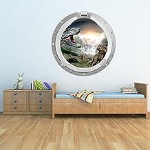 Dinosaurio Escena Porta vinilos decorativo 3D T Rex adhesivos pegatina pared Niños Dormitorio Decoración Disponible en 8 Tamaños Pequeño Digital