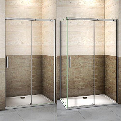 130x195cm Mamparas de ducha puerta de ducha 8mm vidrio templado de Aica