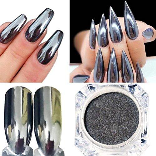 Nail Powder,Moonuy DIY ongles en poudre miroir en acier inoxydable vernis à ongles en métal argenté pâte à ongles couleur gel Ongles ongles beauté ongles poudre outil de soins (Noir)