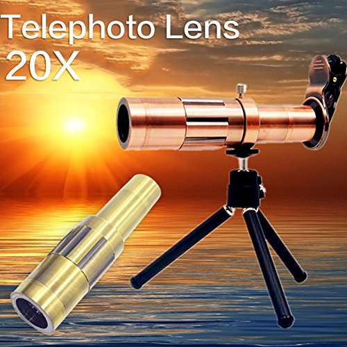 Telescope Telephoto Lens Kit Mobile Phone Camera Zoom 20x With Tripod And Back Case High-End Super Macro Metal Travel Spotting Scope Full Equipment Smartphone Holder Mount