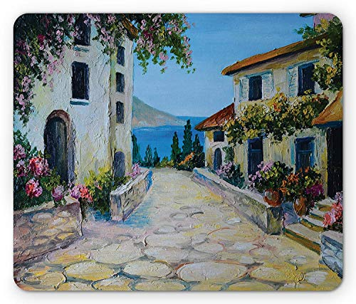 Rustic Mouse Pad, Vintage Houses in Village Near The Sea with Colorful Plants Artistic, Standard Size Rectangle Non-Slip Rubber Mousepad, Pale Blue Beige Mustard