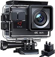 Victure Nueva Versión 4K/50FPS Cámara Deportiva Wi-Fi 4K Ultra HD 20MP con Control Remoto y Pantalla Táctil (A