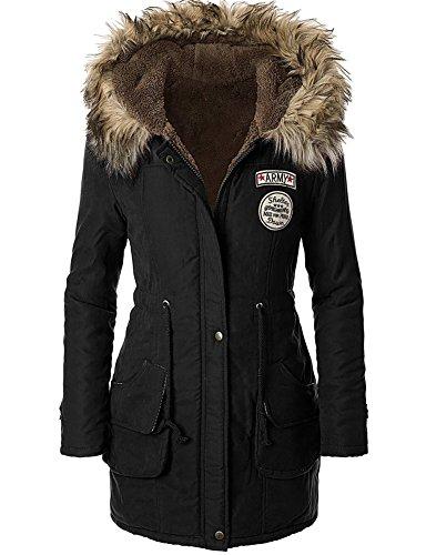 Très Chic mai landa Donna Cappotto invernale Parka giacca in pile Trench con cappuccio giacca con cappuccio in pelliccia nero 45 (Taglia produttore XL)