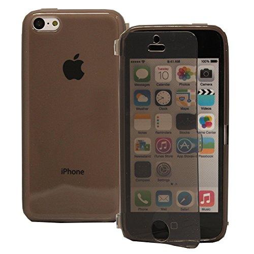 VComp-Shop® Silikon Handy Schutzhülle mit Klappe für Apple iPhone 5C + Großer Eingabestift - GRAU GRAU