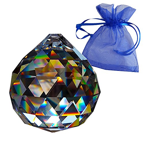 Christoph Palme Kristall Crystal ball  40mm in gift bag - Rainbow crystal - Esoteric - Crystal glass - Exclusive