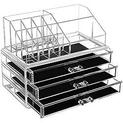 SONGMICS JKA002 Boîte en Acrylique Transparent à 3 Grands tiroirs pour Ranger Votre Maquillage