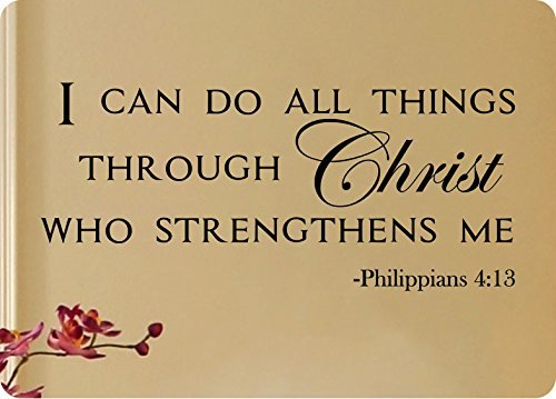 "Wandaufkleber Wall Sticker quotes 50"" I Can Do All Things Through Christ Who Strengthens Me Philippians 4:13 Wall Decal Sticker Art Mural Home Decor Quote Lettering Christian Verse Bible Scripture"