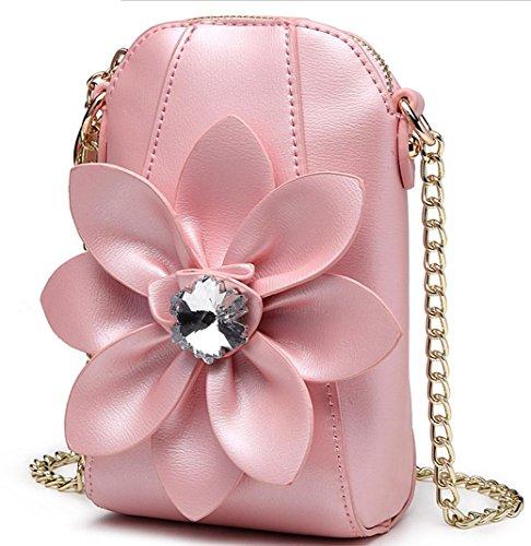 HYLM Damen Mini Taschen Handy Taschen Ketten Strass Blumen Schultertasche / Messenger Münze Geldbörse Pink