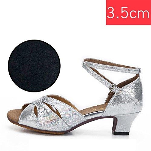 Wxmddn Ladies'scarpe balletti scarpe danza scarpe tango ginnastica danza jazz scarpe danza allenatori scarpe pratica performance Dance scarpe per ragazze donne Argento 3.5 cm coperto