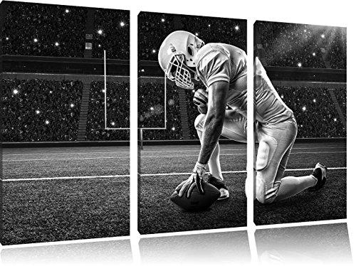 in ginocchio calcio giocatore arte B & W immagine 3 pezzi picture tela 120x80 su tela, XXL enormi immagini completamente Pagina con la barella, stampe d'arte sul murale cornice gänstiger come la pittura o un dipinto ad olio, non un manifesto o un banner,