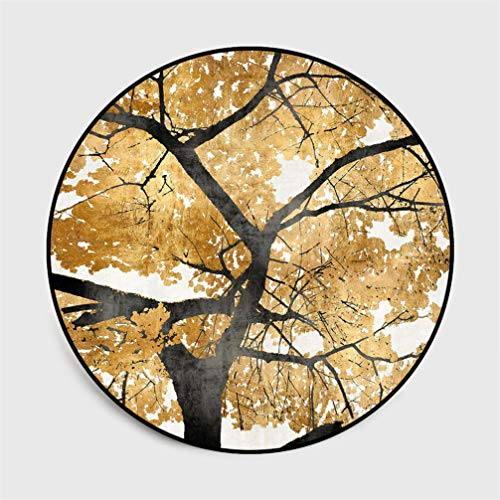 AMON LL Moderner zeitgenössischer runder Teppich, Retro Golden Blätter Blumendesign Bodenmatte zum Dekor (Orientalischen Im Dekor Stil Wohnzimmer)