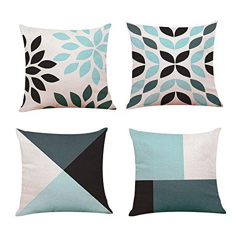 Lifemaison Fundas para Cojines con Impresión Diseño geométrico Cremallera Invisible 4Pcs para sofá y Cama 45x 45cm