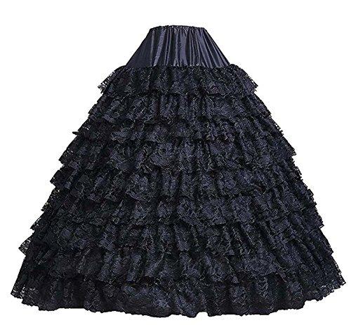 Edith qi Damen 6 Ring Verstellbar Unterrock Reifrock Petticoats Crinoline für Hochzeitskleider, One Size, Multi-Color Schwarze Spitze