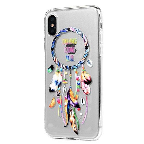 MAXFE.CO Schutzhülle Tasche Case für iPhone X TPU Silikon Cover Gemalt Glatt Muster Etui Protective Schale Bumper Baum Traumfänger