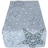 matches21 Weihnachtliche Tischläufer/Mitteldecke Sternen-Zauber Hellgrau mit Druck & Stick weiß & grau 40x85 cm