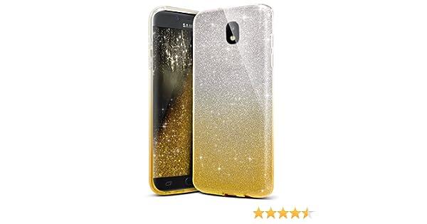 SainCat Custodia Galaxy J5 2017 Custodia Specchio Silicone Morbido Bling Glitter Shock-Absorption 2 in 1 Cover per Samsung Galaxy J5 2017-Blu