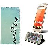 360° Funda Smartphone para Haier Leisure L56, 'smile' | Wallet case flip cover caja bolsa Caso Monedero BookStyle - K-S-Trade (TM)