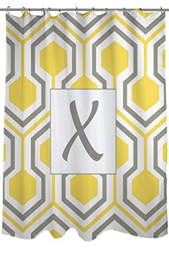 Manuelle holzverarbeiter & Weavers Vorhang für die Dusche, Monogramm Buchstabe X, gelb Honeycomb