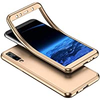 YSIMEE Compatible Fundas Samsung Galaxy A7 2018 A750 Estuches Transparente Silicona 360 Grados Completa integral Frente y Detrás Suave Ultra Delgado Bumper TPU Goma Protectora Carcasas,Oro
