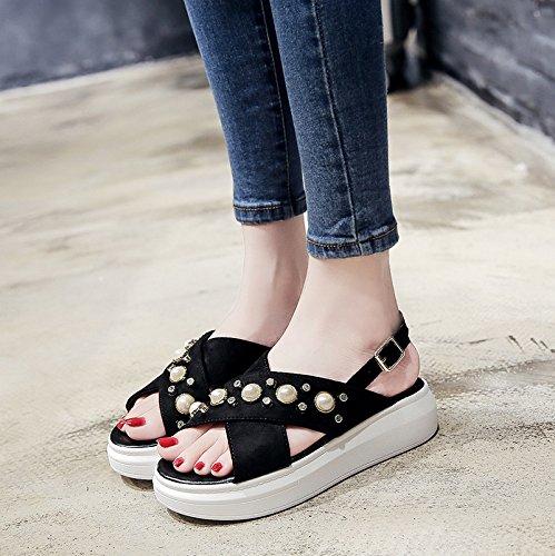 RUGAI-UE Sandali donne fondo spesso scarpe piatte spugna perla Black