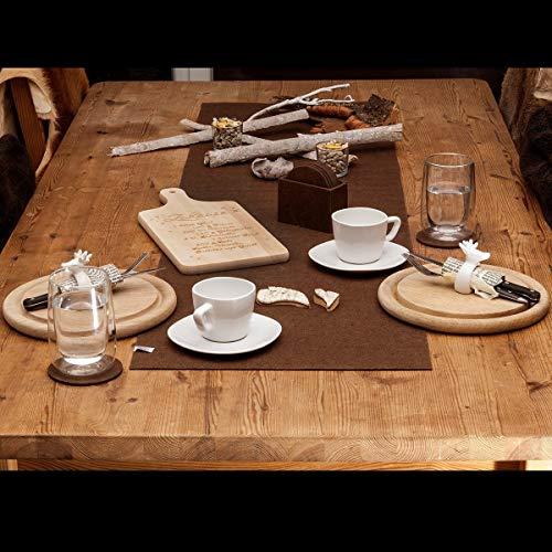lana naturalis® Exclusive edle XXL Tischläufer aus weichem Filz - wunderschöne Farben, strapazierfähig und abwaschbar (Braun)