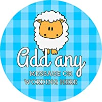 Christening Boy Sheep Sticker Labels (48 Stickers, 4.5cm Each) Personalised Custom Seals Ideal for Party Bags Sweet Cones Favours Jars Presentations Gift Boxes Bottles Crafts