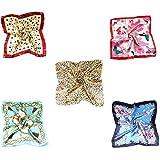 MESHIKAIER 5 Pack Donna Piccolo Sciarpa Quadrato Raso Fazzoletto da Collo Mini Foulard 50x50cm (Style 1)