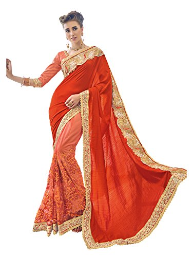 Pisara Women's Embroidered Net half n half Saree with Blouse,Orange  available at amazon for Rs.2499