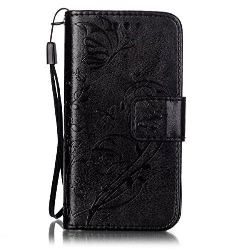 JIALUN-étui pour téléphone Avec slot pour carte, Lanyard, Pressure Beautiful Pattern Fashion Open Cell Phone Shell pour IPhone 4s 4 ( Color : Brown , Size : IPhone 4s ) Black